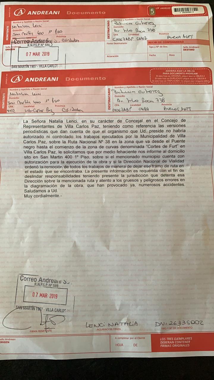 A Través De Una Carta Documento Lenci Reclamó A Vialidad